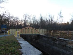 Historic Erie Canal Lock 19 footbridge in Vischer Ferry NY
