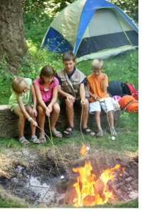 Family camping fun in the Finger Lakes National Forest.