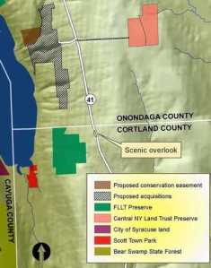 Map of the land the Finger Lakes Land Trust hopes to buy from the Burns family in Spafford. Courtesy Karen Edelstein